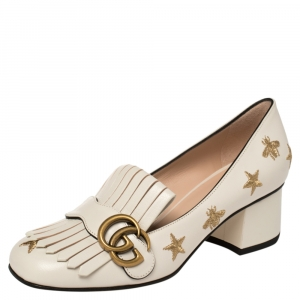 Gucci White Leather GG Star Marmont Fringe Pumps Size 36.5