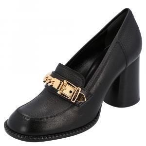 Gucci Black Leather Sylvie Chain-trimmed Pumps Size EU 36.5