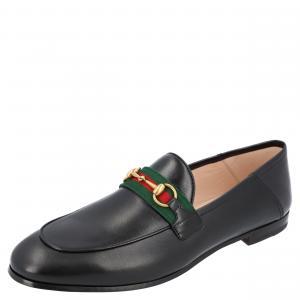 Gucci Black Leather Web Horsebit Loafers Size EU 35