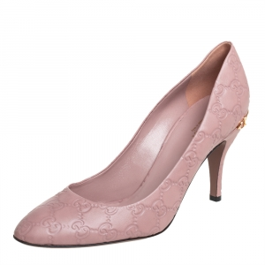Gucci Blush Pink Guccissim Leather Pumps Size 40