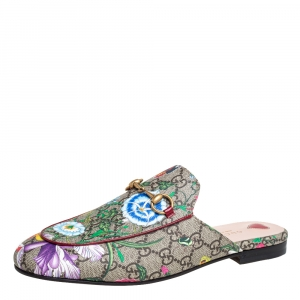 Gucci Multicolor Coated Canvas Tian Print Princetown  Sandals Size 39