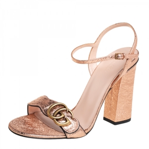 Gucci Metallic Rose Leather GG Marmont Ankle Strap Sandals Size 38.5