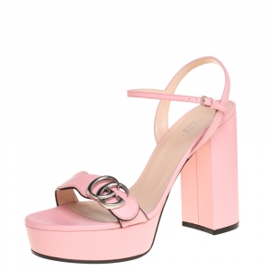 Gucci Pink Leather GG Marmont Ankle Strap Sandals Size 39
