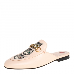 Gucci Pink Leather Mystic Cat Princetown Mule Sandals Size 37