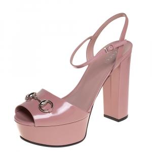 Gucci Blush Pink Leather Claudia Horsebit Platform Ankle Strap Sandals Size 39