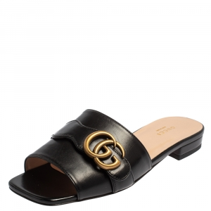 Gucci Black Leather GG Malaga Kid Flat Mules Size 37
