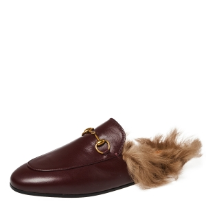 Gucci Burgundy Leather Fur Lined Princetown Horsebit Mules Size 37