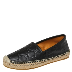 Gucci Black Guccissima Leather Espadrilles Flats Size 36.5