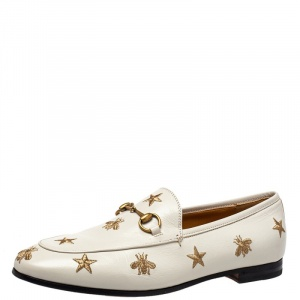 Gucci White Bee & Star Embroidered Leather Jordaan Loafers Size 38.5
