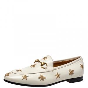 حذاء لوفرز غوتشي جوردان جلد مطرز نجوم ونحل أبيض مقاس 38.5