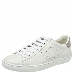 Gucci White/Grey Leather Interlocking G Ace Sneakers size 35.5