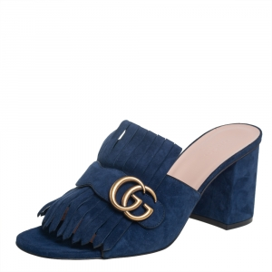 Gucci Blue Suede GG Marmont Fringe Detail Block Heel Sandals Size 40.5