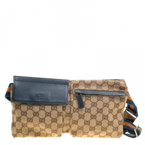 Gucci Beige/ Blue GG Canvas and Leather Waist Belt Bag