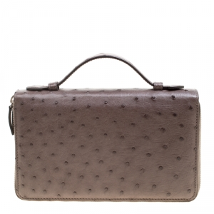 Gucci Grey Ostrich Leather Travel Document Case
