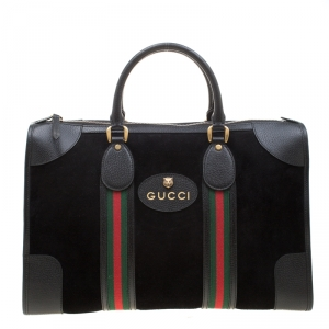 Gucci Black Suede and Leather Duffle Bag