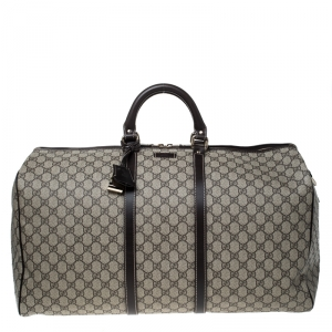 Gucci Beige/Brown GG Coated Canvas Large Carry On Duffle Bag
