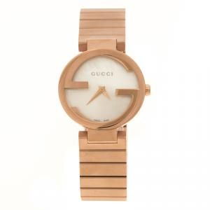 Gucci Interlocking Mother of Pearl Rose Gold Plated Stainless Steel 133.5 Women's Wristwatch 29 mm