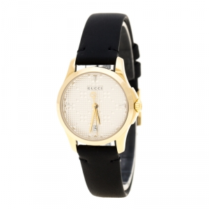 Gucci Silver Gold Plated Stainless Steel G-Timeless 126.5 Women's Wristwatch 27 mm