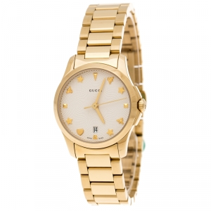 Gucci Cream Gold Plated Stainless Steel G-Timeless 126.5 Women's Wristwatch 27 mm