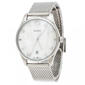 Gucci White Mother of Pearl Stainless Steel G-Timeless 126.4 Women's Wristwatch 36 mm