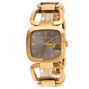ساعة يد نسائية غوتش G Gucci 125.4 ستانلس ستيل مطلية PVD ذهبية وردية بيج 33 مم