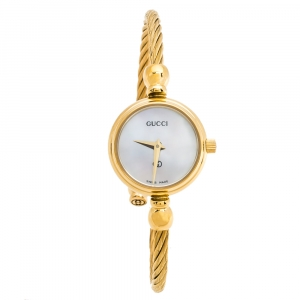 Gucci White Mother Of Pearl Yellow Gold Tone Stainless Steel 2700 Series Rope Bangle Women's Wristwatch 20 mm