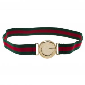 Gucci Green Web Elastic Interlocking G Buckle Belt 80CM