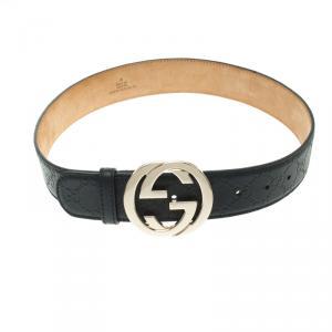 Gucci Dark Blue Guccissima Interlocking G Buckle Belt 80CM