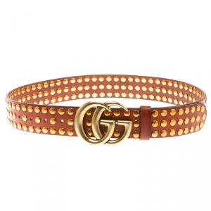 Gucci Brown Leather Studded Double G Buckle Belt 85 CM