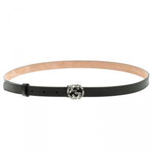 Gucci Black Leather Crystal Embellished Interlocking G Buckle Belt 100 CM