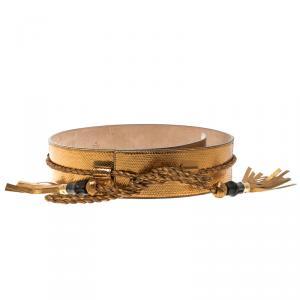 Gucci Gold Snake Skin Bamboo Tassel Waist Belt 90cm