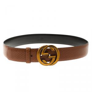 Gucci Brown Snake Embossed Leather Interlocking GG Buckle Belt 95cm