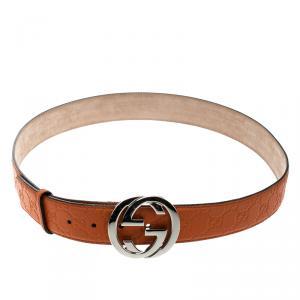 Gucci Orange Guccissima Leather Interlocking GG Buckle Belt 105cm