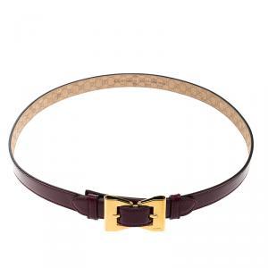 Gucci Burgundy Patent Leather Buckle Belt 90cm