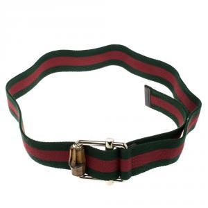 Gucci Green Web Fabric Bamboo Buckle Belt 85cm