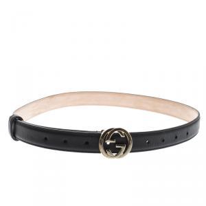 Gucci Black Leather Skinny Interlocking GG Buckle Belt 85cm