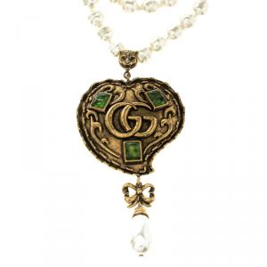 Gucci Green Resin & Multi strand Glass Pearl Gold Tone Heart Pendant Necklace