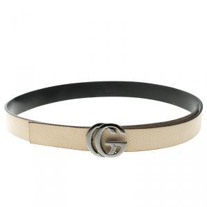 Gucci Beige Lizard Interlocking GG Buckle Belt 80cm