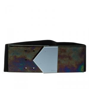 Gucci Black Holographic Elastic Waist Belt 65cm
