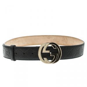 Gucci Black Guccissima Leather Interlocking G Buckle Belt 95 CM