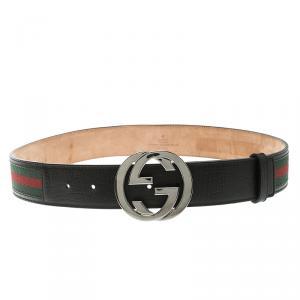 Gucci Black Leather Web Interlocking GG Buckle Belt 85 CM