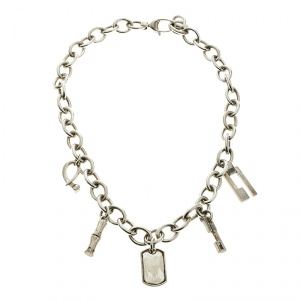 Gucci Silver Charm Link Choker Necklace