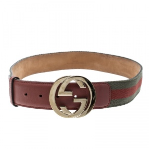 Gucci Orange/Green Web Fabric Interlocking GG Buckle Belt 85cm