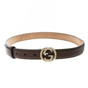 Gucci Brown Leather Interlocking G Buckle Belt 85cm