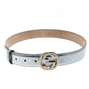 Gucci Silver Micro Guccissima Patent Leather Belt 80cm