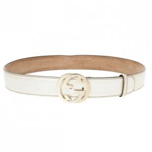 Gucci White Guccissima Leather Interlocking GG Buckle Belt Size 90 CM