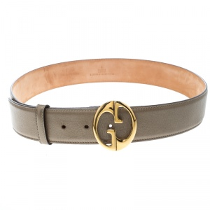 Gucci Gold Leather 1973 Buckle Belt 90cm