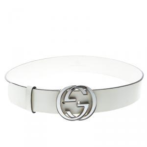 Gucci White Patent leather Interlocking GG Buckle Belt 90cm