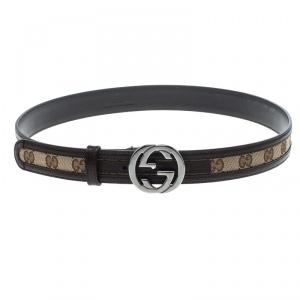 Gucci Beige/Brown GG Canvas and Leather Interlocking G Buckle Belt 100 CM