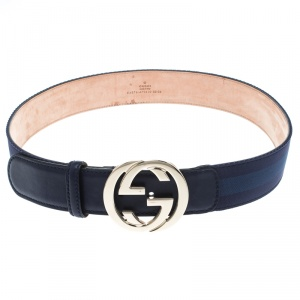 Gucci Blue Leather and Fabric Web Detail Interlocking GG Buckle Belt 85 CM
